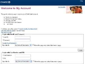 My chase credit card account. Online Application: May 2012