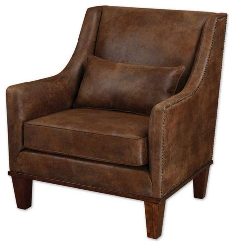 clay rustic leather look arm chair rustic armchairs