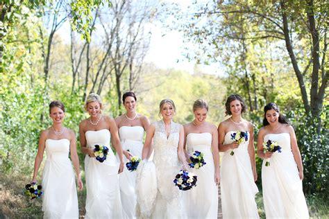 Cream Bridesmaid Dresses, Blue And Purple Bouquets, Accent