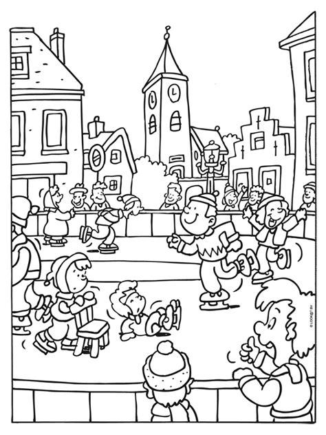 Kleurplaat Winter by Kleurplaat Schaatsen Op De Ijsbaan In Het Dorp Sz 237 Nezők