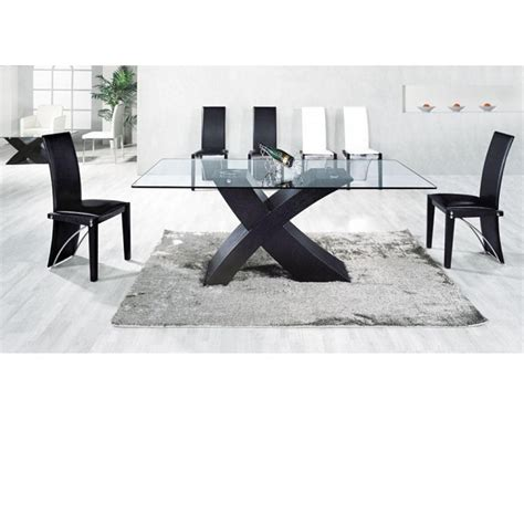 glass table six chairs black glass dining table 6 chairs gallery dining