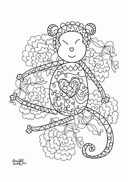 Coloring Stress Adult Monkey Zen Singe Monkeys