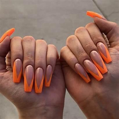 Coffin Nails Nail Tip French Designs Orange