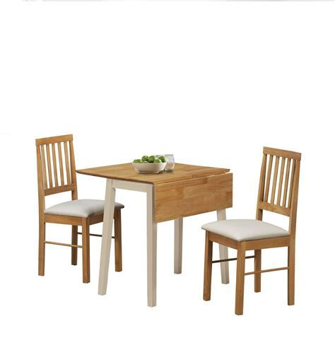 Birlea Lille Drop Leaf Solid Wood Dining Table 2 Chairs