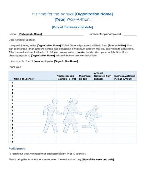 walk  thon fundraiser pledge form templates