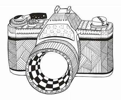 Zentangle Camera Vector Pencil Pattern Retro Freehand