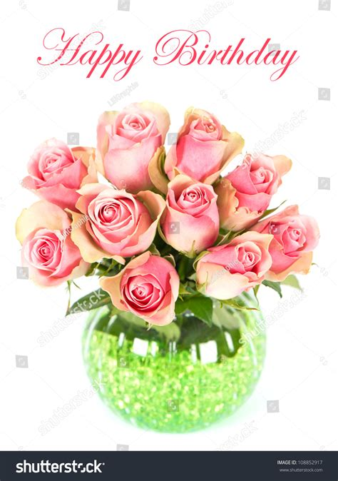 beautiful pink roses bouquet vase  stock photo