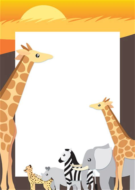 Safari Wildlife Page Border / Notepaper