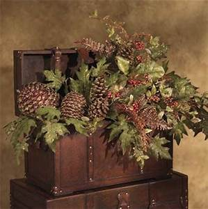 Christmas Decor In Trunks Buckets and Baskets Rustic