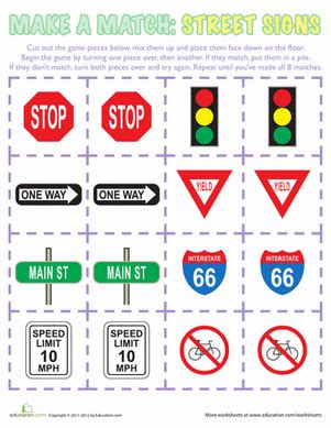 Make A Match Street Signs  Worksheet Educationcom