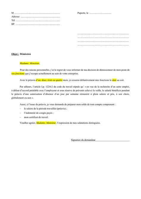 model 233 de lettre de demission avec preavis doc pdf page 1 sur 1