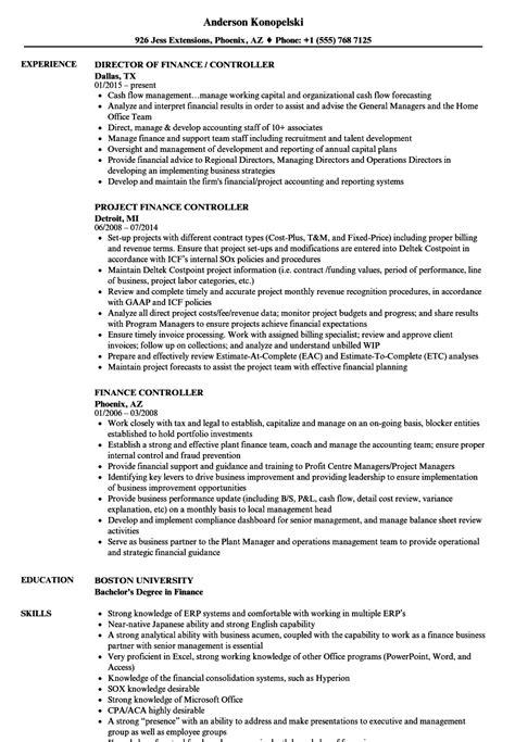 finance controller resume samples velvet jobs
