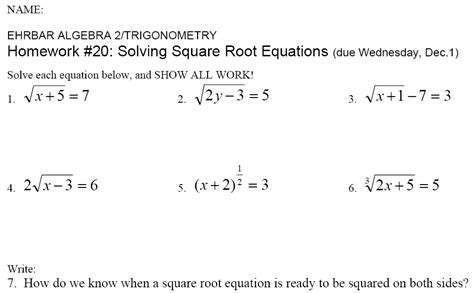 Homework For Ehrbar Hw #20 Solving Square Root Equations Sheet