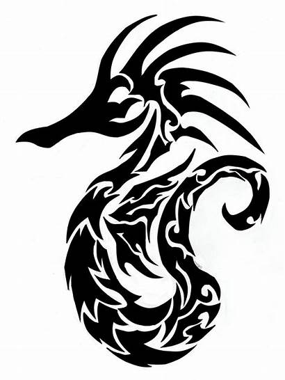Seahorse Tribal Drawing Finished Seahorses Drawings Clipart