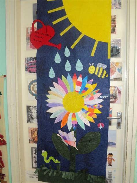 spring door decoration in the language classroom
