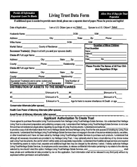 printable living trust forms sle living trust form 7 free documents in pdf