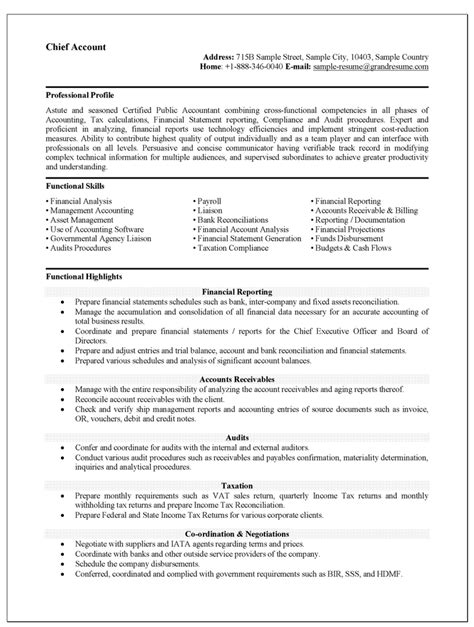 Accounting Functional Resume accounting resume format resume templates format and sles accounting sle