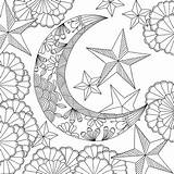 Coloring Moon Sun Adult Adults Mandala Printable Stars Space Artists Follow Dreams Press Peter Pauper Relieving Stress Vk Therapy Flowers sketch template
