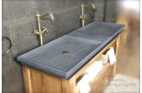 63'' Double Trough Trendy Gray Granite Bathroom Sink Riviera