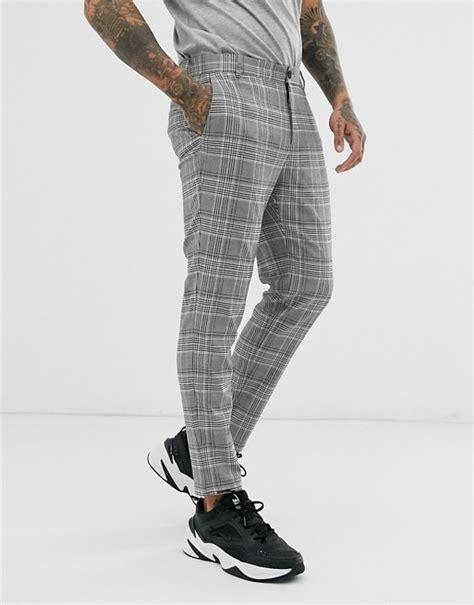 bershka skinny trousers  grey check asos