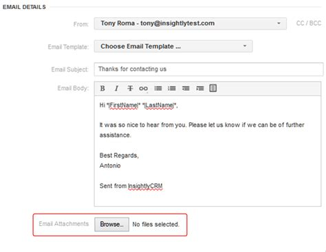 sending and scheduling email from insightly insightly