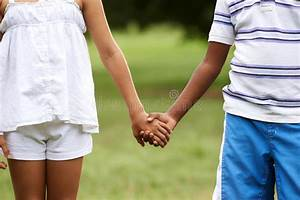 Children Love Black Boy White Girl Holding Hands Stock ...