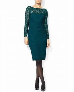 Lyst - Ralph Lauren Lauren Dress - Lace Boat Neck in Green