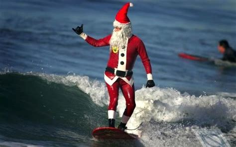 santa surfs surfer dad