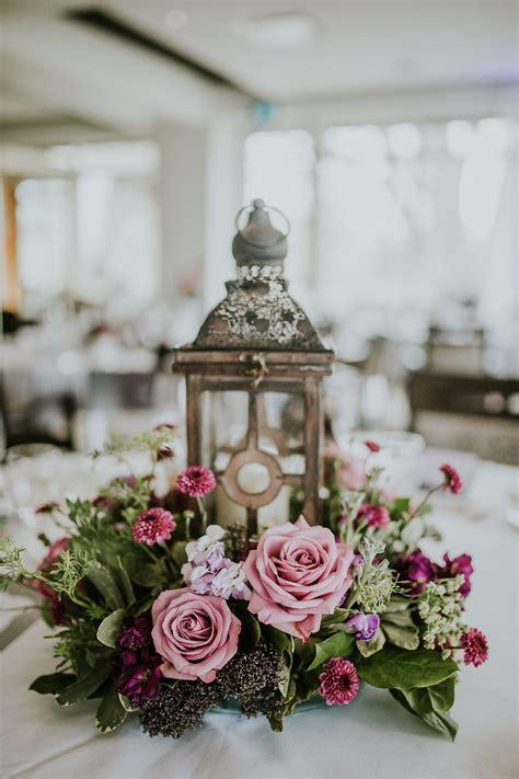 Lantern Wedding Centrepiece Purple Wedding Flowers