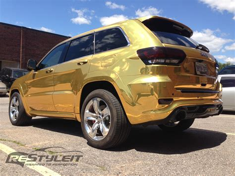 jeep grand cherokee vinyl wrap gold chrome jeep grand cherokee srt 8 vehicle
