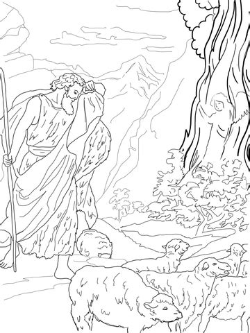 god speaks  moses   burning bush coloring page  printable coloring pages