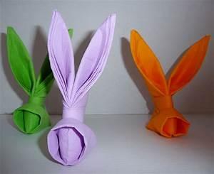Pliage Serviette Lapin Simple : pliage de serviette de table en forme de lapin table de paques d coration pour p ques ~ Melissatoandfro.com Idées de Décoration