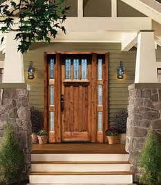 Craftsman Style Front Door with Stained Glass