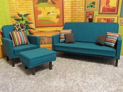 Barbie Retro Living Sofa Furniture Dollhouse Doll