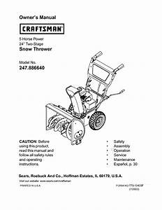 Craftsman Snow Blower 247 88664 User Guide