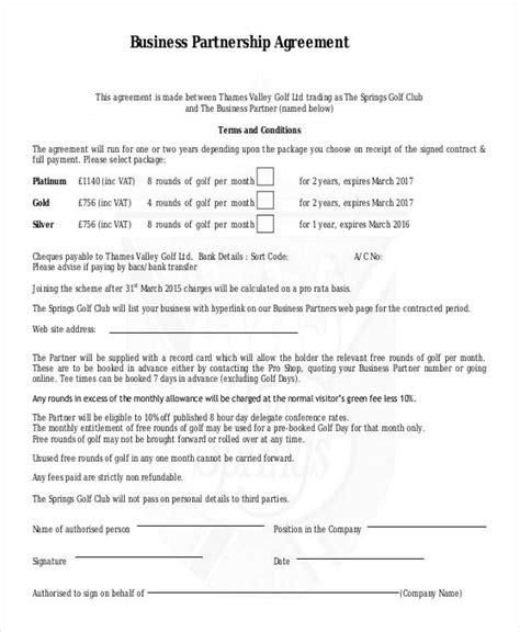 partnership contract 9 partnership contract templates free sle exle