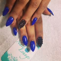 Top blue pointy nails pretty designs