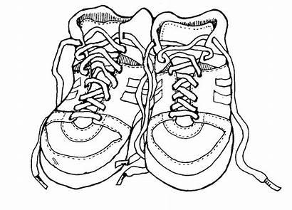 Shoes Coloring Shoe Clipart Pages Tennis Outline