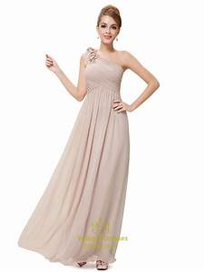 Long Blush Pink Bridesmaid Dresses One Shoulder,One ...