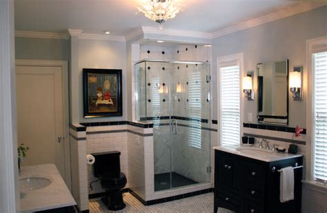 Black And White Contemporary  Traditional Bathroom
