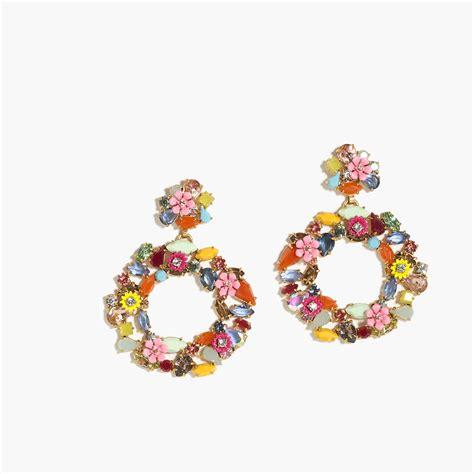colorful earrings colorful floral hoop earrings earrings j crew