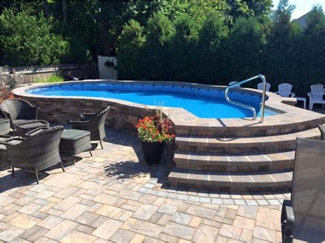 Permanent Stone Above Ground Swimming Pool Ideas With