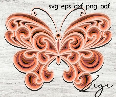 Butterfly 3d mandala svg, multi layered laser cut file digital template download, layer stacked dxf. 3D layered mandala svg butterfly svg | Etsy