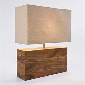Lampe Sur Pied En Bois : lampe poser avec pied en bois rectangular wood ~ Dailycaller-alerts.com Idées de Décoration