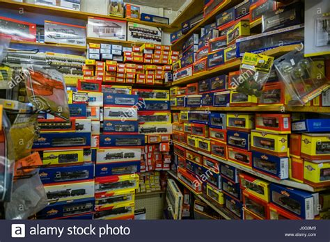 e s trains and hobby boxes of hornby model trains stacked up on in the