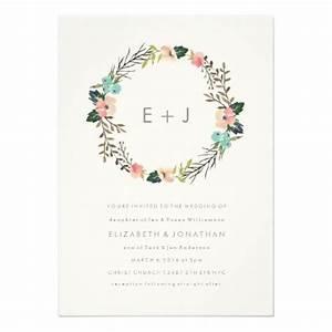 watercolor floral wreath wedding invitation monogram with With minimalist floral wedding invitations