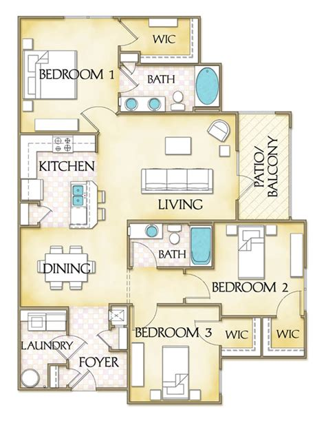 Luxury Apartment Floor Plans 3 Bedroom Cleveland Crossing 3 Bedroom Luxury Apartments In Garner Nc