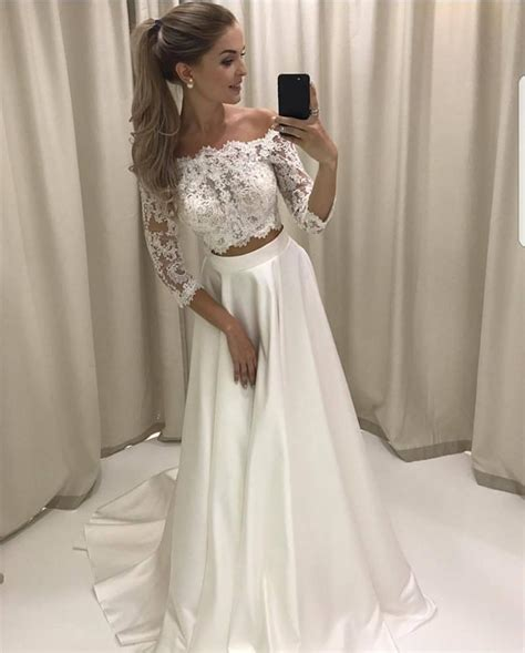 Boho Style Lace Sleeved Two Piece Wedding Dresses Beach
