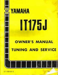 1982 Yamaha It175j Motorcycle Owners Service Manual