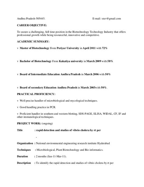 Resume Format For Biotechnology Freshers by Resume Templates For Freshers